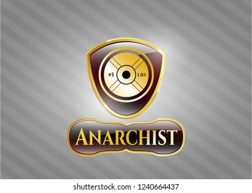 Gold emblem or badge with weightlifting or powerlifting plate (45 lbs) icon and Anarchist text inside