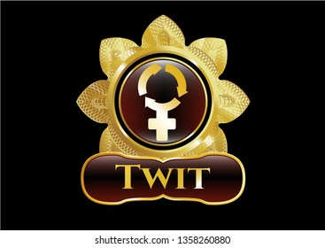 Gold emblem or badge with women cycle icon and Twit text inside