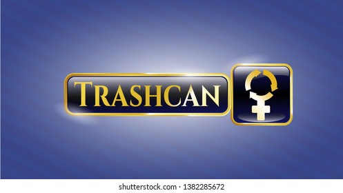 Gold emblem or badge with women cycle icon and Trashcan text inside