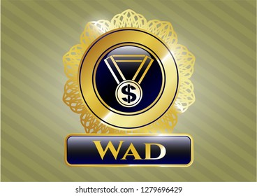Gold emblem with business award icon and Wad text inside
