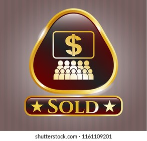 Gold emblem with business congress icon and Sold text inside