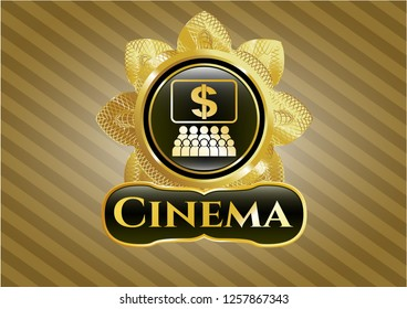 Gold emblem with business congress icon and Cinema text inside