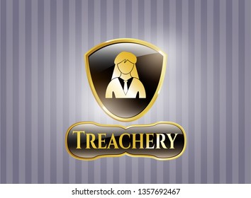 Gold emblem with businesswoman icon and Treachery text inside