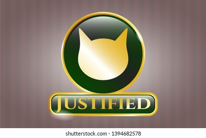 Gold emblem with cat face icon and Justified text inside