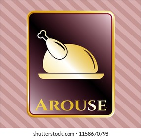 Gold emblem with chicken dish icon and Arouse text inside