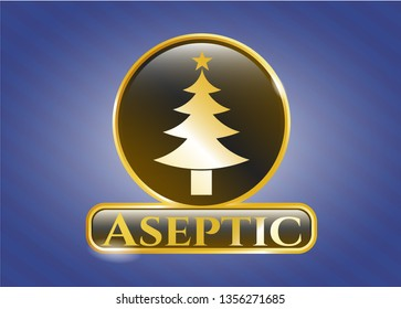 Gold emblem with christmas tree icon and Aseptic text inside