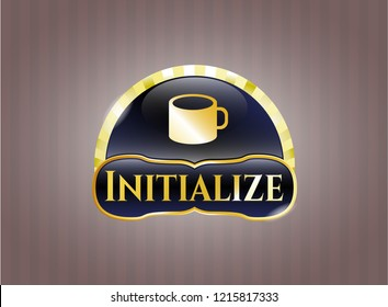 Gold emblem with coffee cup icon and Initialize text inside