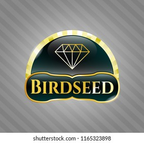 Gold emblem with diamond icon and Birdseed text inside