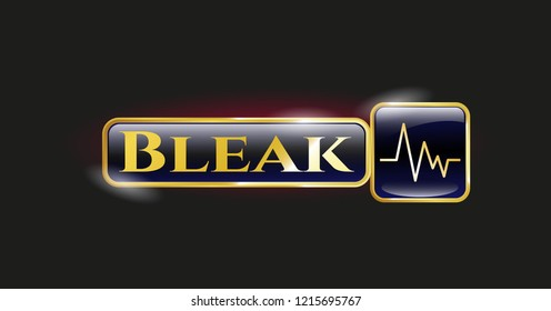 Gold emblem with electrocardiogram icon and Bleak text inside