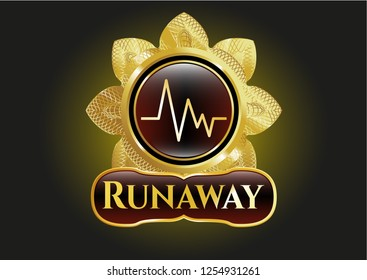 Gold emblem with electrocardiogram icon and Runaway text inside