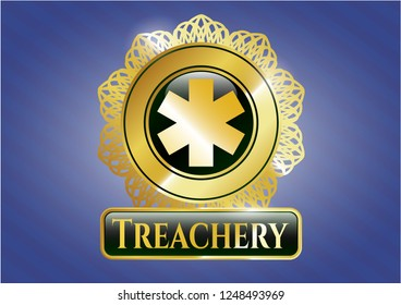 Gold emblem with emergency cross icon and Treachery text inside