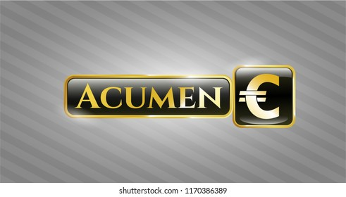 Gold emblem with euro icon and Acumen text inside