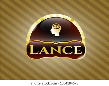 Gold emblem with head with gears inside icon and Lance text inside