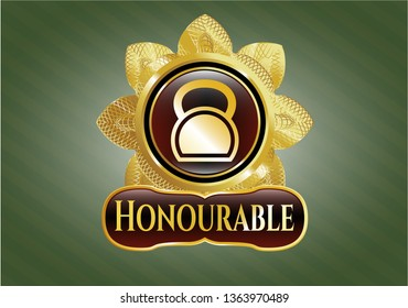 Gold emblem with kettlebell icon and Honourable text inside
