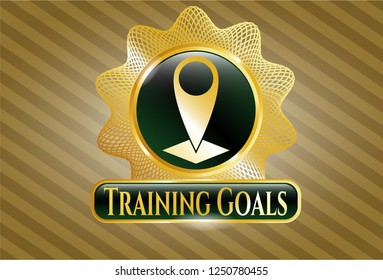 Gold emblem with map pointer icon and Training Goals text inside