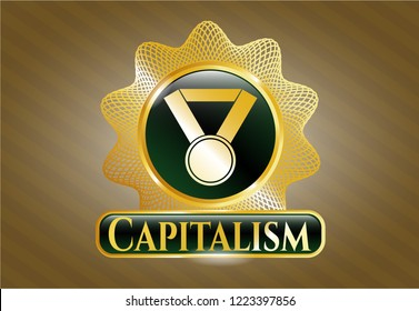 Gold emblem with medal icon and Capitalism text inside