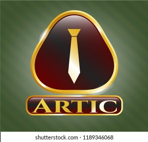 Gold emblem with necktie icon and Artic text inside