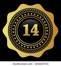 Gold emblem with number 14. years anniversary emblem with golden font. years anniversary celebration simple logo. Luxury gold emblem,label,seal,sticker or tag. Can be used for celebrations.