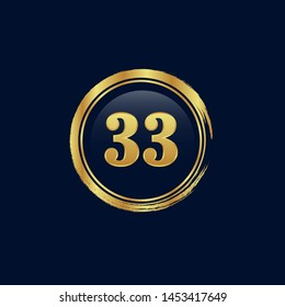 Gold emblem with number 33. years anniversary emblem with golden font. years anniversary celebration simple logo. Luxury gold emblem,label,seal,sticker or tag. Can be used for celebrations.