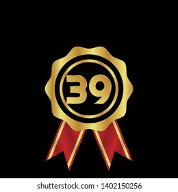 Gold emblem with number 39. 39 years anniversary with golden font. 39 years anniversary celebration simple logo. Luxury gold emblem,label,seal,sticker or tag. Can be used for celebrations, anniversari
