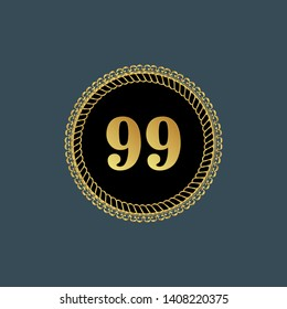 Gold emblem with number 99. 99 years anniversary with golden font. 99 years anniversary celebration simple logo. Luxury gold emblem,label,seal,sticker or tag. Can be used for celebrations, anniversari