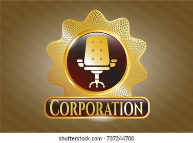 Gold emblem with office chair icon and Corporation text inside