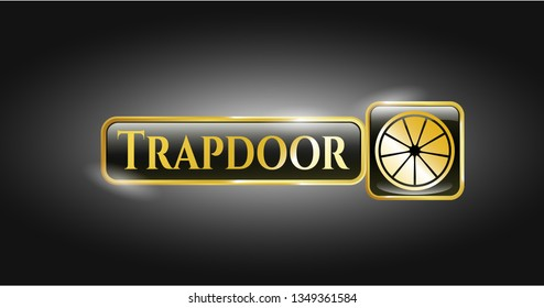 Gold emblem with orange icon and Trapdoor text inside