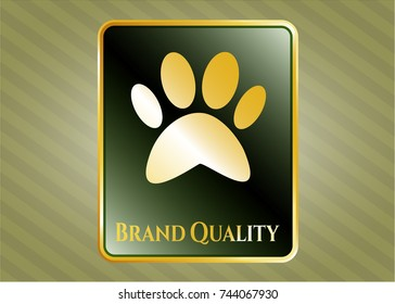 Gold emblem with paw icon and Brand Quality text inside