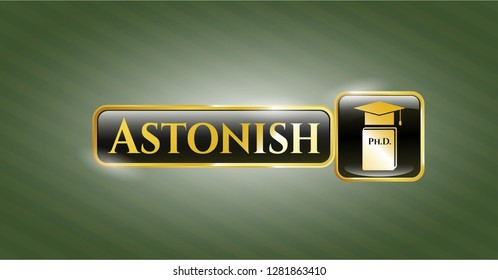 Gold emblem with Phd thesis icon and Astonish text inside