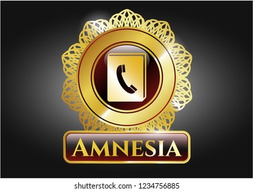 Gold emblem with phonebook icon and Amnesia text inside