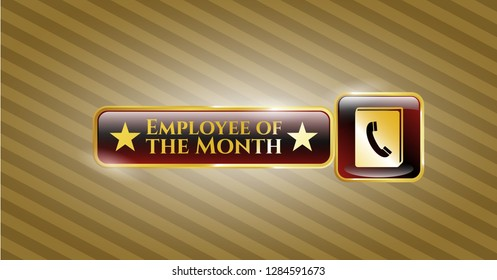 Gold emblem with phonebook icon and Employee of the Month text inside