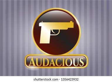 Gold emblem with pistol icon and Audacious text inside