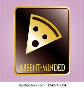 Gold emblem with pizza slice icon and Absent-minded text inside