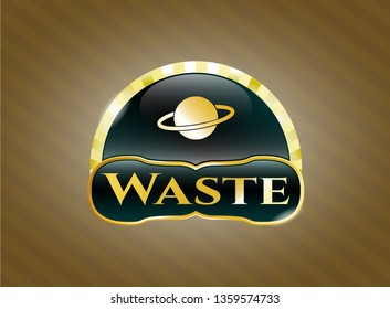 Gold emblem with planet, saturn icon and Waste text inside