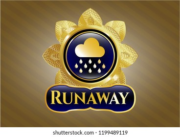 Gold emblem with rain icon and Runaway text inside