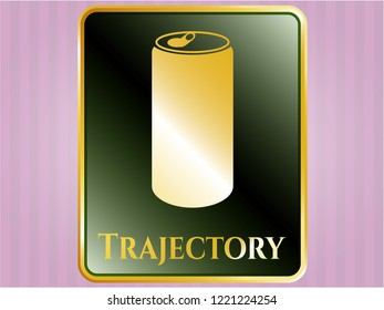 Gold emblem with soda can icon and Trajectory text inside