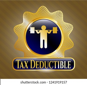 Gold emblem with squat icon and Tax Deductible text inside