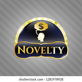 Gold emblem with thinking in money icon and Novelty text inside