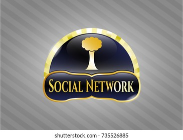 Gold emblem with tree icon and Social Network text inside