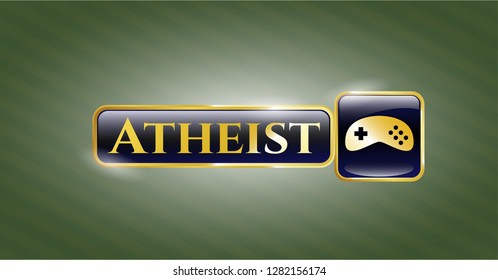 Gold emblem with video game icon and Atheist text inside