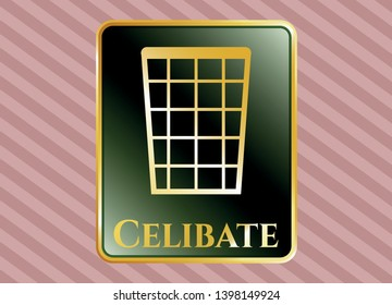 Gold emblem with wastepaper basket icon and Celibate text inside