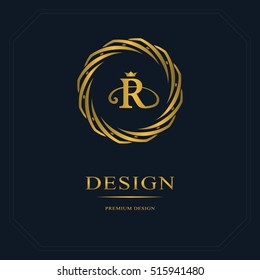 Gold Emblem of the weaving circle. Monogram design elements, graceful template. Simple logo design Letter R for Royalty, business card, Boutique, Hotel, Heraldic, Web design. Vector illustration