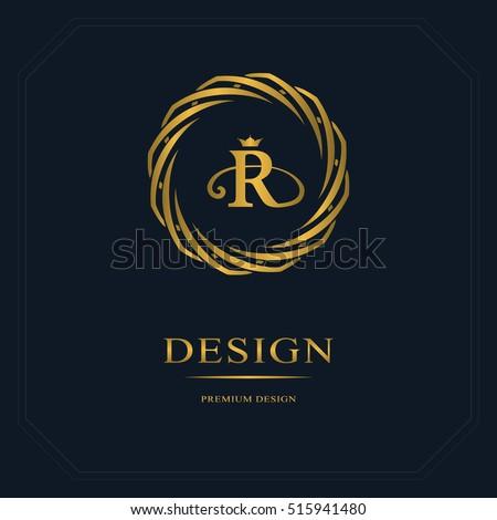 Gold Emblem Weaving Circle Monogram Design Stock Vector Royalty