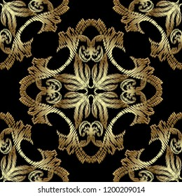 Gold embroidery Baroque seamless pattern. Vector ornamental textured background. Tapestry floral Damask ornament in baroque Victorian style. Embroidered decorative design. Grunge ornate 3d texture