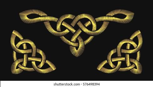 Gold embroidery on a black background. Golden Celtic knot pattern. Irish ornament patch frame vector illustration