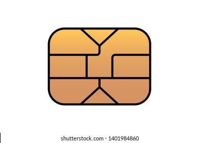 Gold EMV chip icon for bank plastic credit or debit charge card. Vector symbol illustration