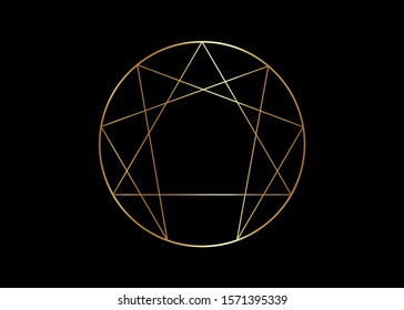 Gold Enneagram icon, sacred geometry, golden vector illustration isolated on black background
