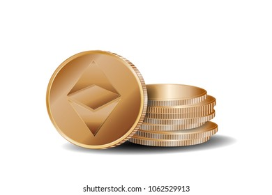 gold ethereum coin with gold coins stack