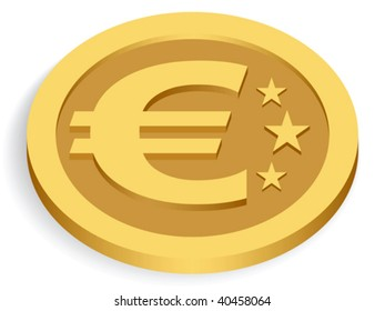 gold euro coin isolated on white, vector illustration
