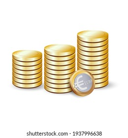 Gold euro coins. 3 d vector icon on white background.